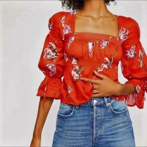Free People Light Red Floral Blouse